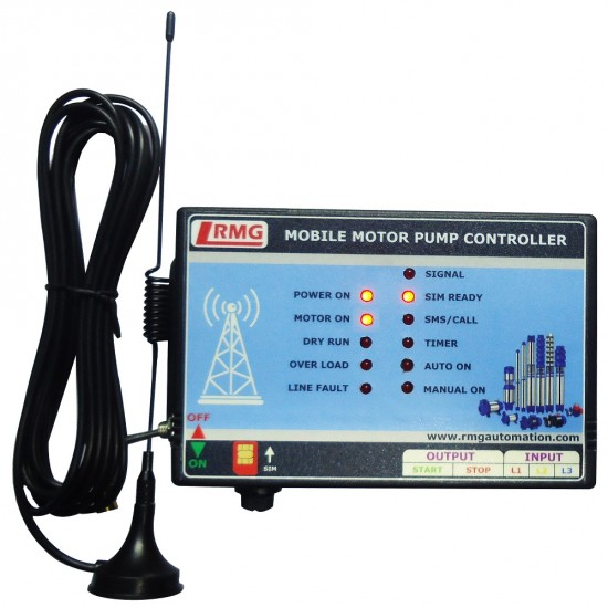Three Phase GSM Mobile Motor Pump Controller with All Safety Protection, Alerts & Timer Features(Mobile Motor Starter)
