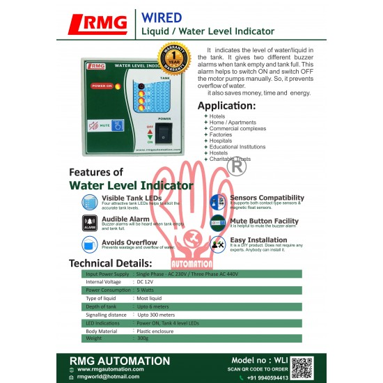 Water Level Indicator with Tank Full & Tank Empty Alarm